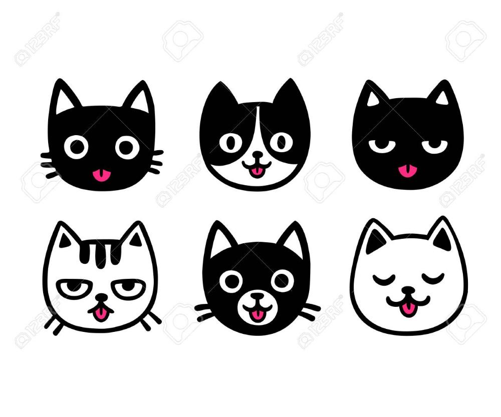 Conjunto De Dibujo De Gato De Dibujos Animados Lindo Sacando La Lengua Ilustracion De Vector Dibujado A Mano Divertido Gatos De Dibujos Animados Cara De Gato Dibujo Dibujos De Gatos