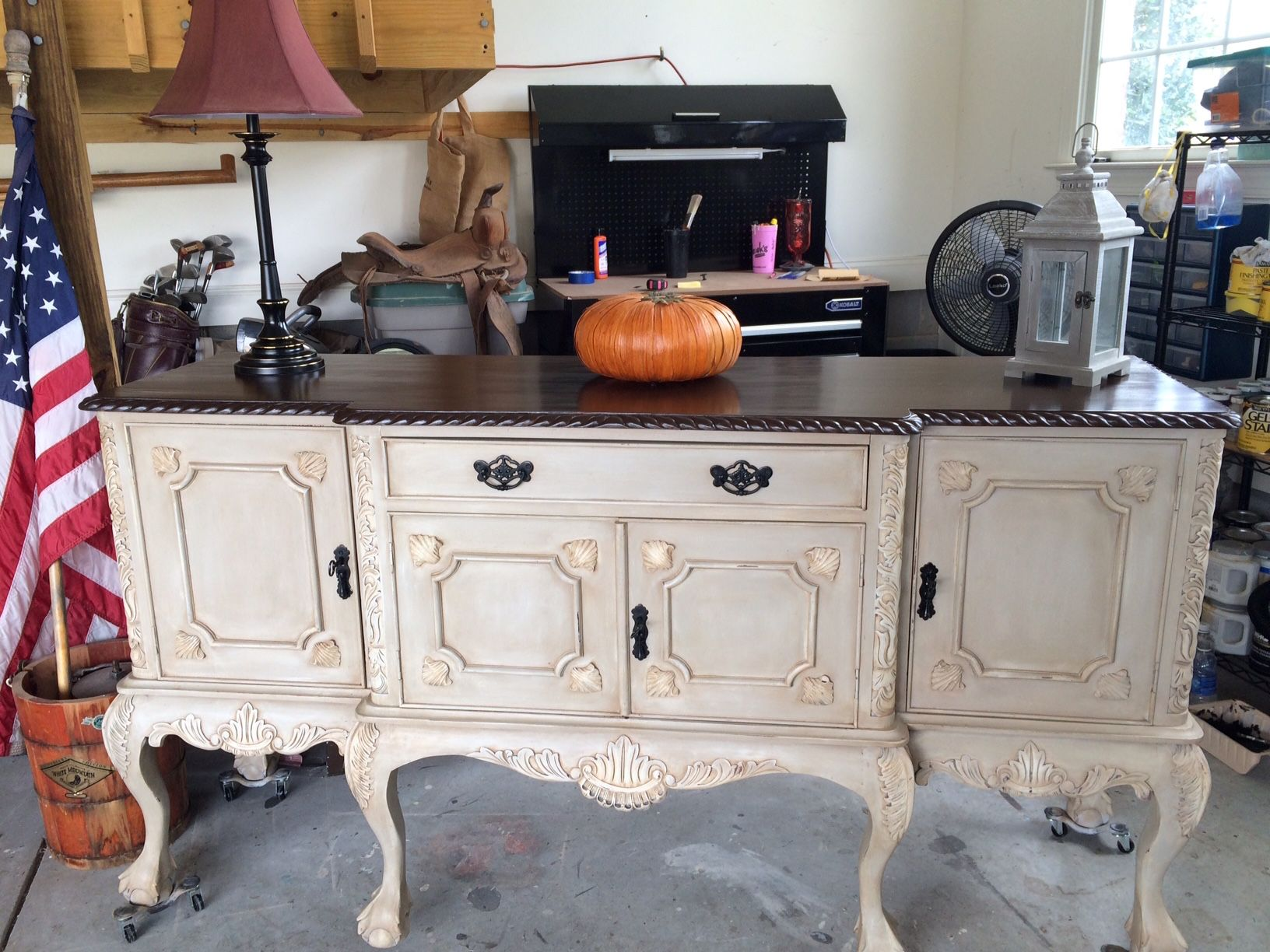 How to paint a vintage buffet home stories a to z - Antique Buffet Painted In French Linen With Clear And Dark Wax Top Is Java Gel
