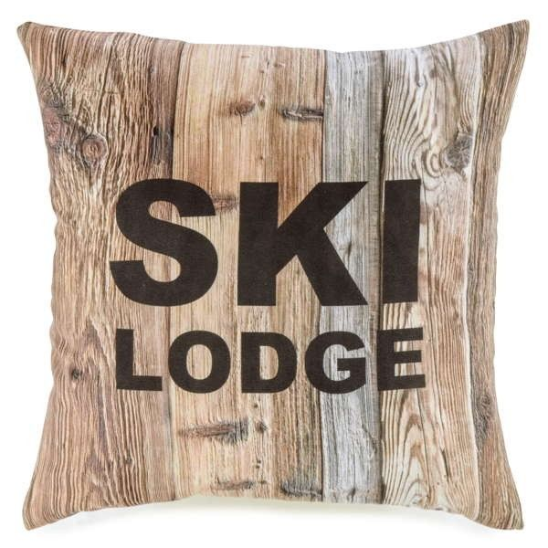 coussin motif ski lodge sur bois coussins pinterest. Black Bedroom Furniture Sets. Home Design Ideas