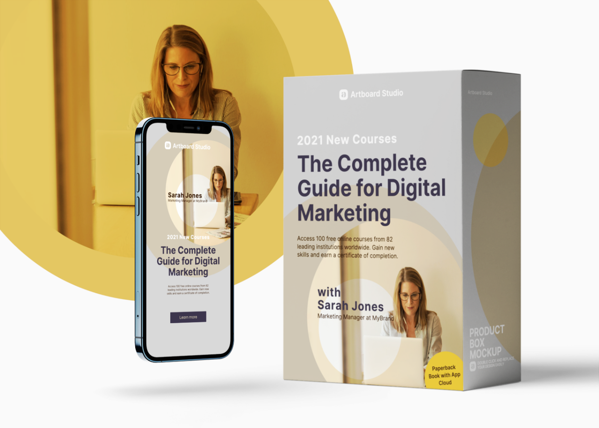 Digital Course Product Box And App Mockup Scene Free Mockup Templates Mockup Templates Digital