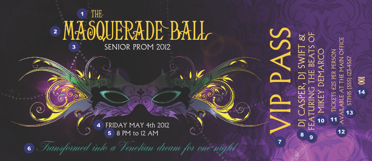 Masquerade Ball VIP Pass Prom Tickets Pinterest – Prom Tickets Design
