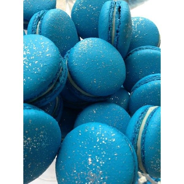 Blue Glitter Macarons Liked On Polyvore Featuring