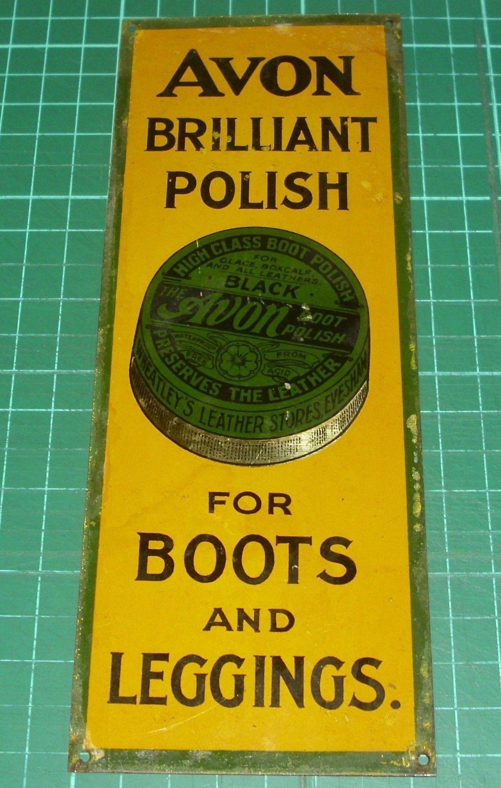 Old door finger plate advertising boot polish tin not enamel sign ...