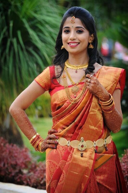 perfect look saree and jewellery | engagement | South ...