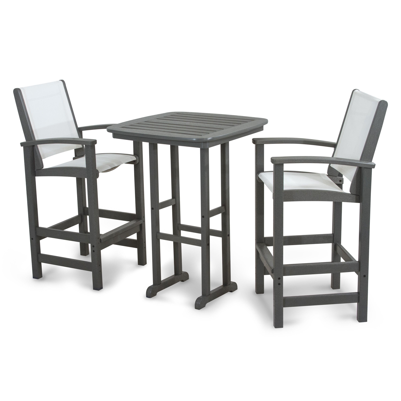 3 piece patio bar set. Fine Set Polywood Coastal Tall 3piece Outdoor Bar Set  And 3 Piece Patio