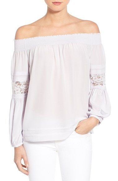 4ad2efe4545100 Olivia Palermo + Chelsea28 Silk Off the Shoulder Peasant Top available at # Nordstrom