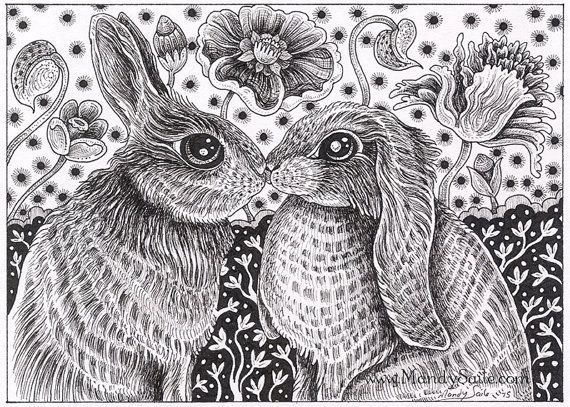 Rabbit ink drawing 23 an 8 x 10 art print of a black white ink drawing of two sweet rabbits who are in love and in the mood to snuggle