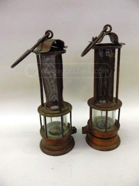 Antique Brass Whale Oil Miners Lamp Cast Iron Hook Mining Lantern ...