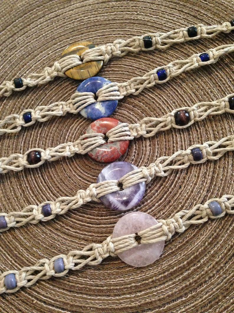 Natural Stone Donut Sacred Circle Hemp Necklace