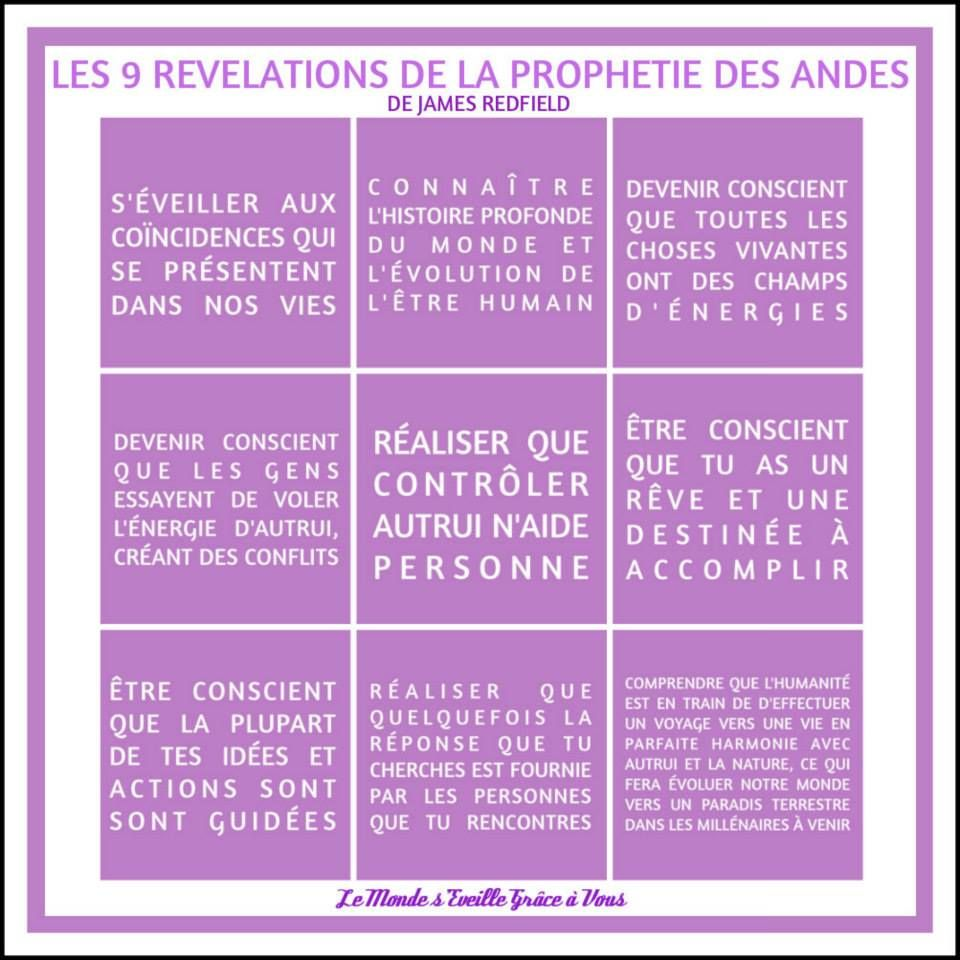 Les 9 Revelations De La Prophetie Des Andes De James Redfield Www Lemondeseveille Com La Prophetie Des Andes 4 Accords Tolteques Pensees Positives