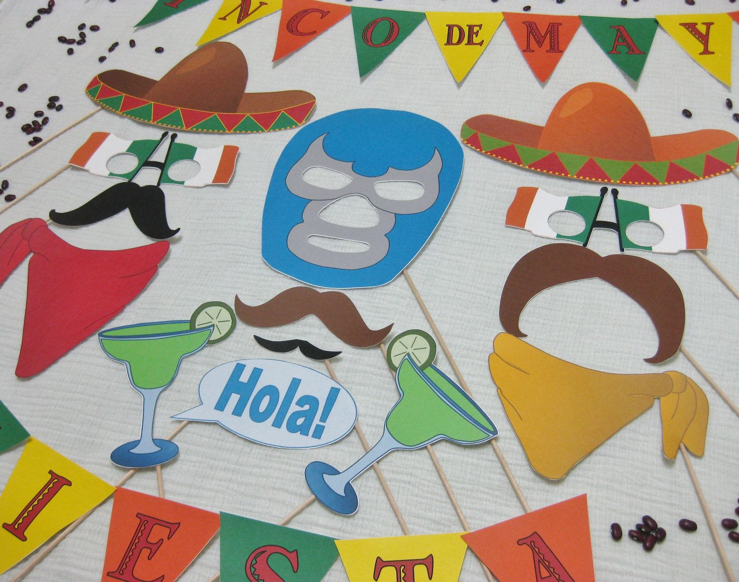 PDF - Cinco de Mayo photo booth props/decorations/craft ...
