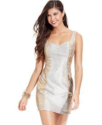 Hailey Logan Juniors Dress, Sleeveless Metallic Sheath - Juniors Dresses - Macy's