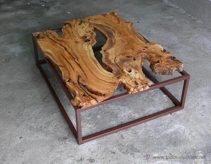 Mesa de centro madera de olivo. Vintage. Industrial. - Foto 1 ...