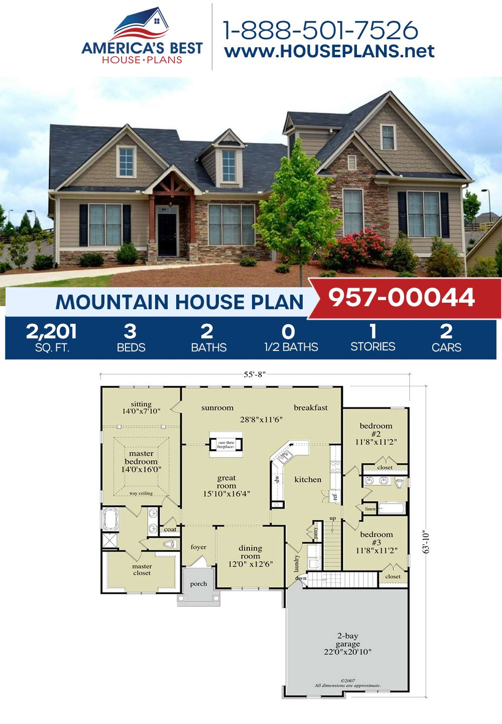 House Plan 957 00044 Mountain Plan 2 201 Square Feet 3 Bedrooms 2 Bathrooms In 2020 Mountain House Plans Dream House Plans House Plans
