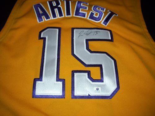 3e086d8516cc GAI Authentic Ron Artest Autograph Gold Los Angeles Lakers Jersey GAI  Authentic Ron Artest Autograph Gold Los Angeles Lakers Jersey.