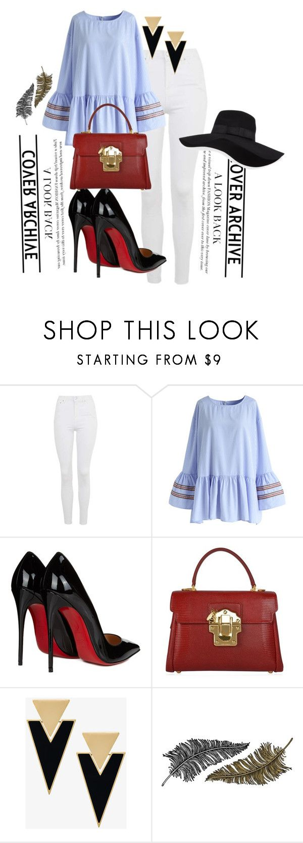 """""""<----->"""" by adaleta13 ❤ liked on Polyvore featuring Topshop, Chicwish, Christian Louboutin, Dolce&Gabbana, Yves Saint Laurent, Paperself and San Diego Hat Co."""