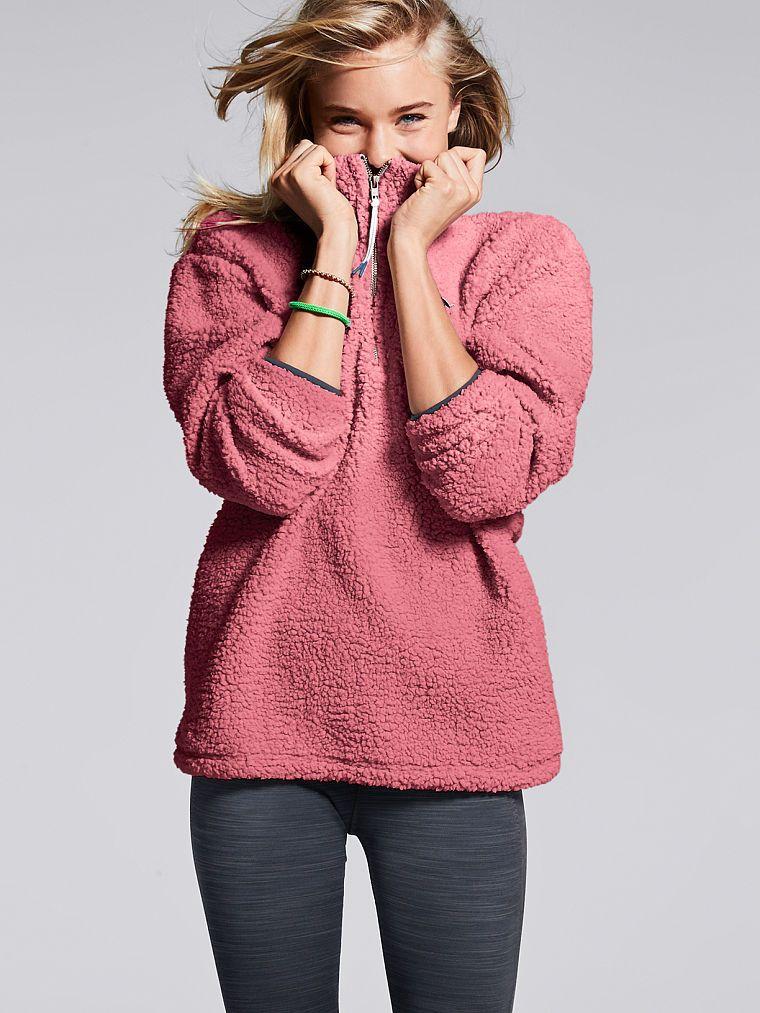 Sherpa Boyfriend Quarter-Zip - PINK - Victoria s Secret ff1343e77