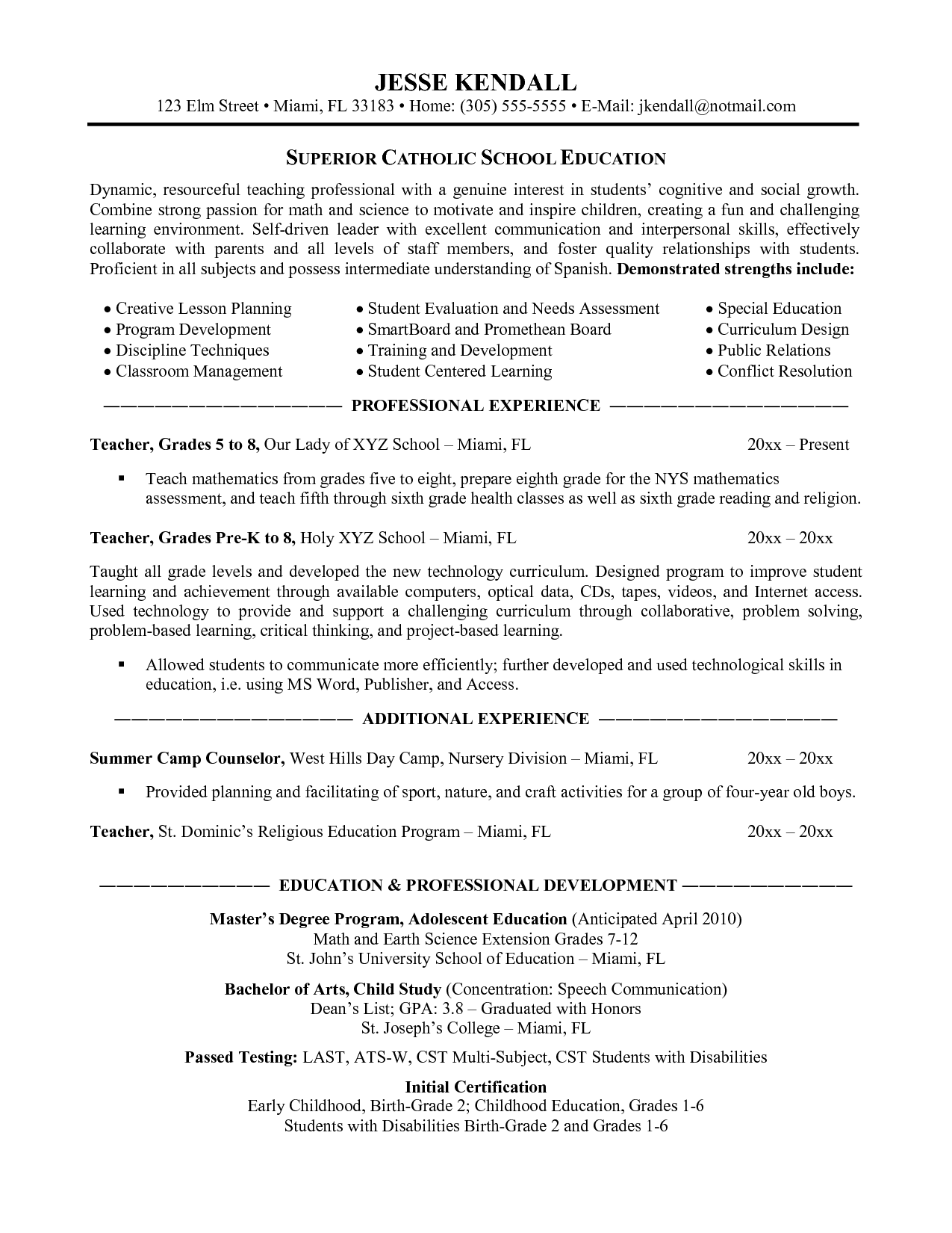 Teaching Resumes Ontario Elementary School Teacher Resume Example