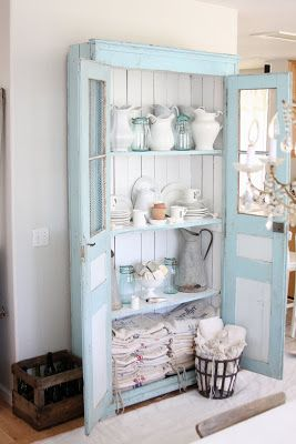 Dreamy Whites blog: My blue cupboard - she shares the painting project of her beautiful antique cabinet, and which paint colors she used.  t was color matched by Benjamin Moore. Here is the oil based formula for a quart size can of paint~ Pastel Base~1B 1 1/2 oy 5 bk 2 bb 7 tg 2 wh