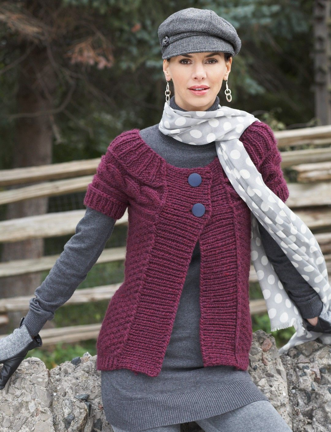 Cable yoke cardigan with a side to side design bernat flattering yoke sweater with a side to side cable accent bankloansurffo Images