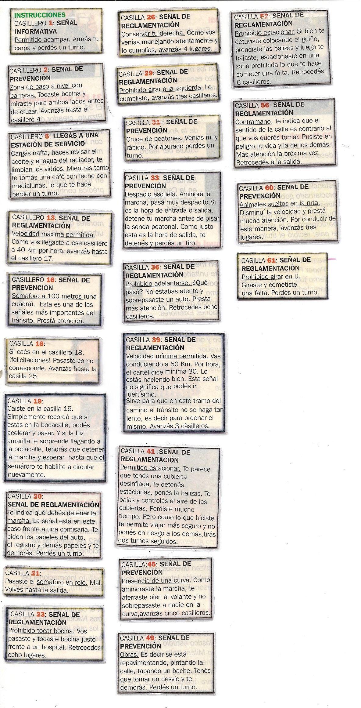 Juego De Mesa Para Imprimir Con Senales De Transito Juegos