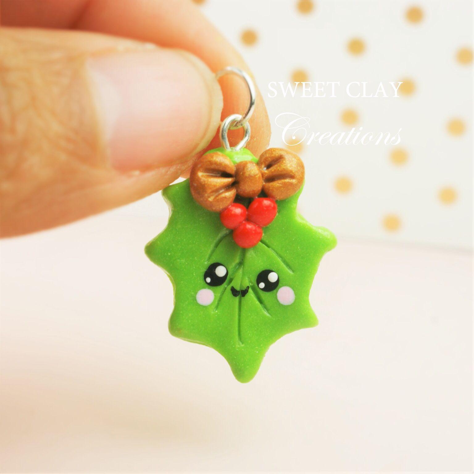 Polymer Clay Christmas Charms.Christmas Mistletoe Kawaii Charm Polymer Clay Handmade