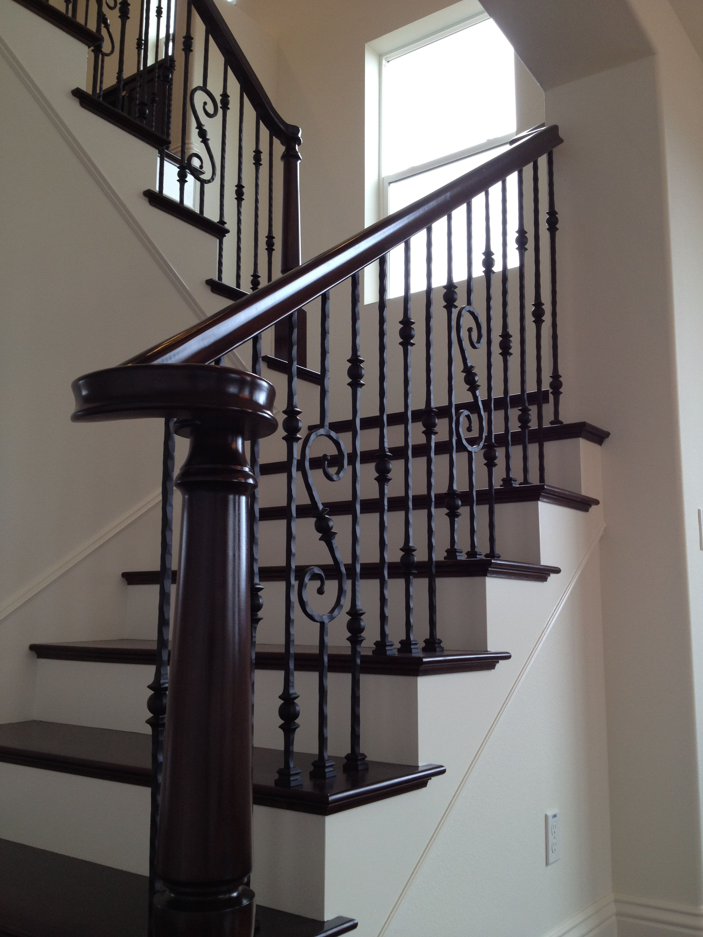 dark floors wrought iron stairs | A House on Graham Avenue ...