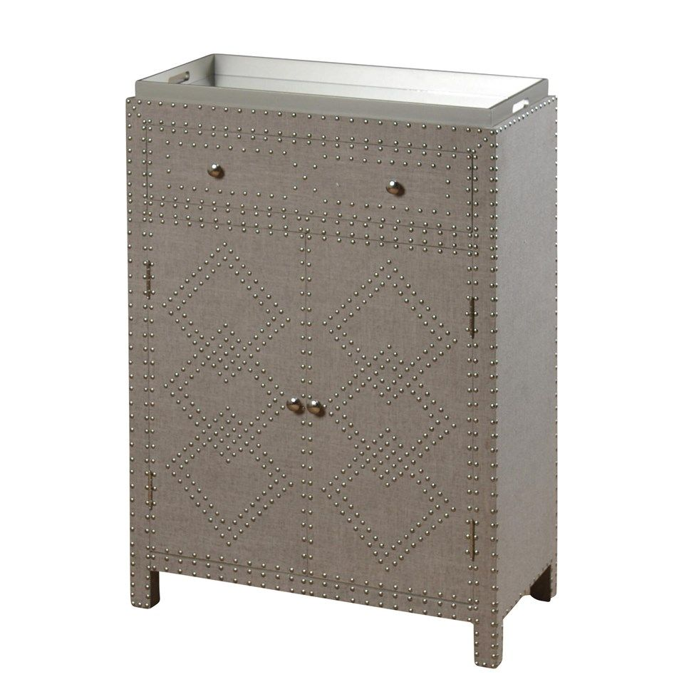 Stylecraft cabinets - Garbo Wine Cabinet In Natural Linen Nail Head Accents Sf2341 Shopac