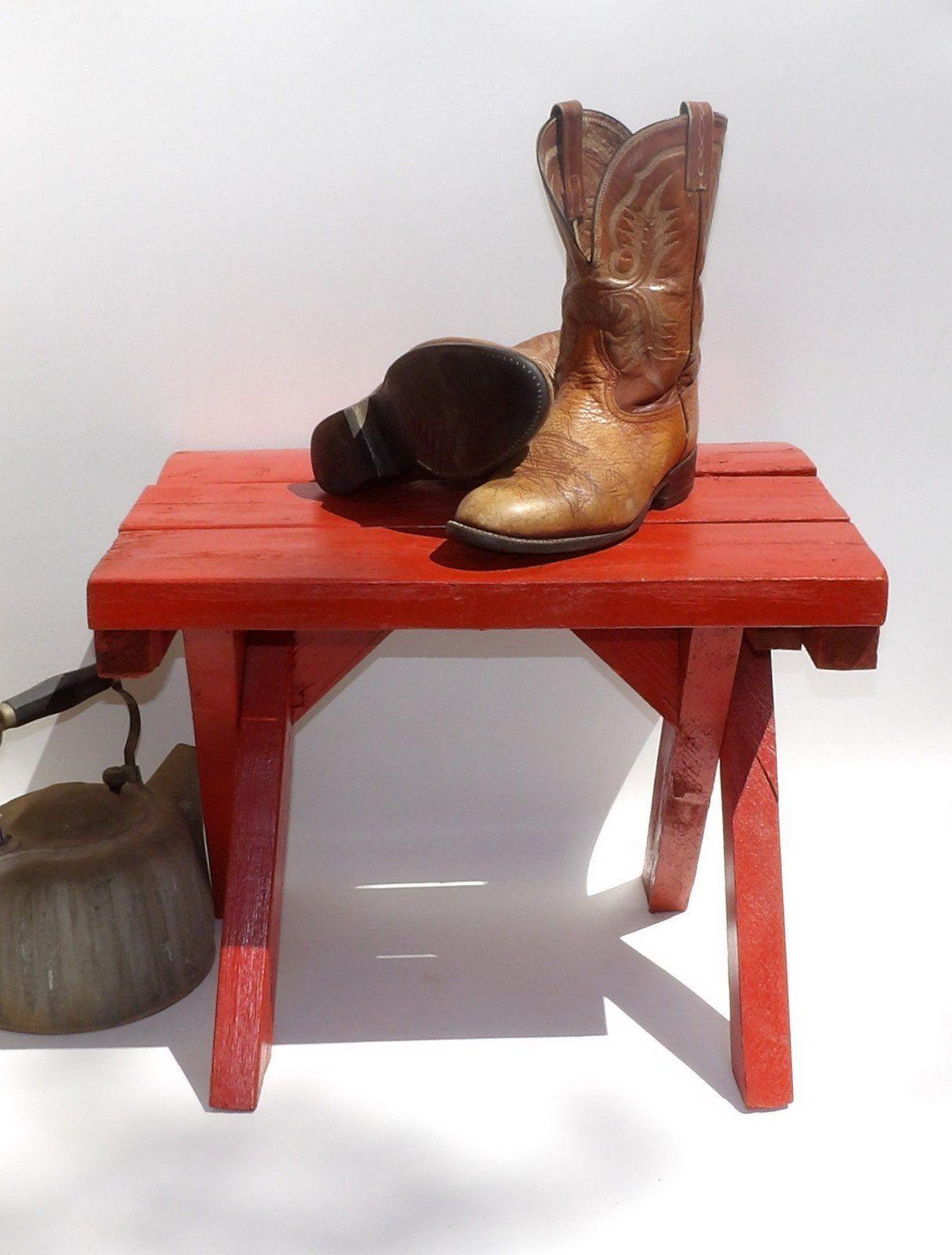 Window decor and more orange beach  rustic red wood orange bench vintage footstool vintage rustic bench