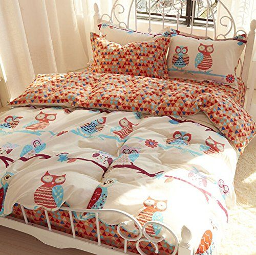 free full pink home item duvet bed cover bedding shipping queen set sheet twin cotton sets owl in size king without from cartoon filler