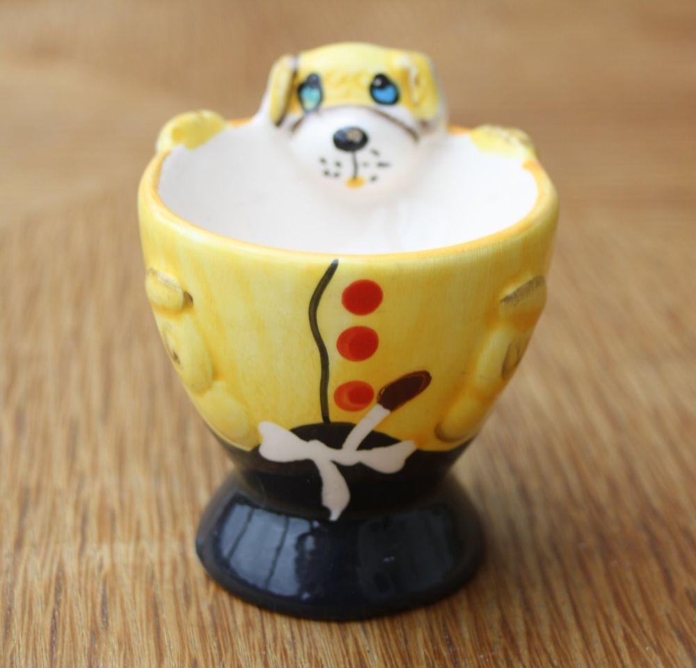 Ancien Coquetier Humoristique Chien En Faïence Egg Cup
