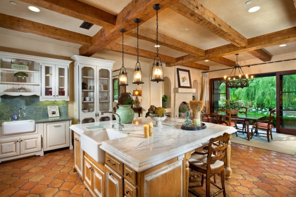 Impressive kitchen in a European estate in Rancho Santa Fe