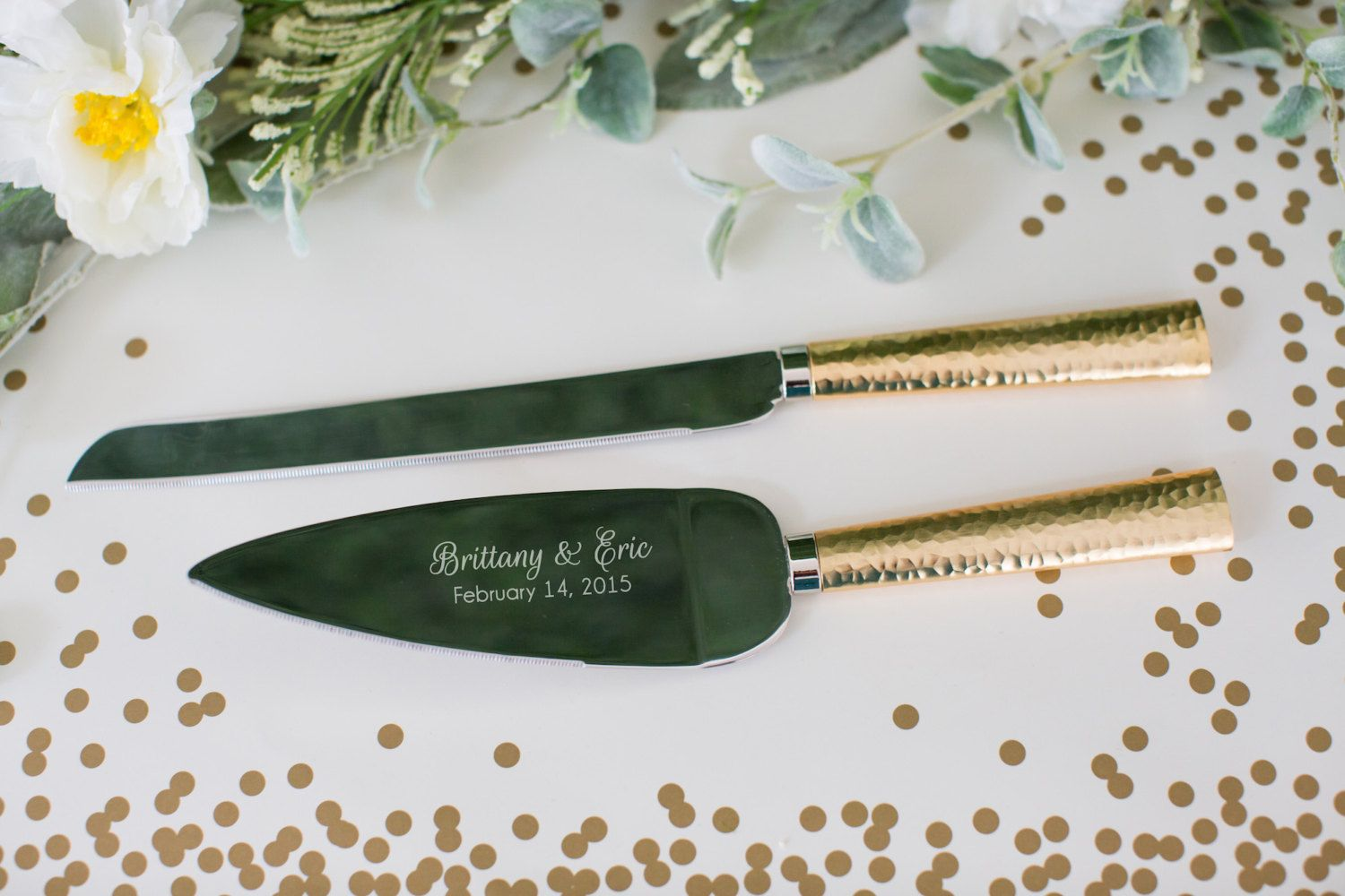 Personalized Hammered Gold Wedding Cake Knife and Server Set - (2 PC ...
