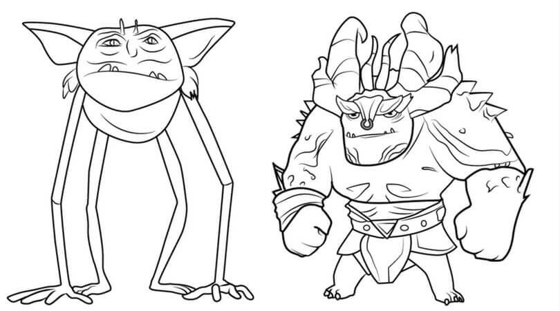 trollhunters coloring pages Draal the Deadly and Goblin TrollHunters Coloring Page  trollhunters coloring pages