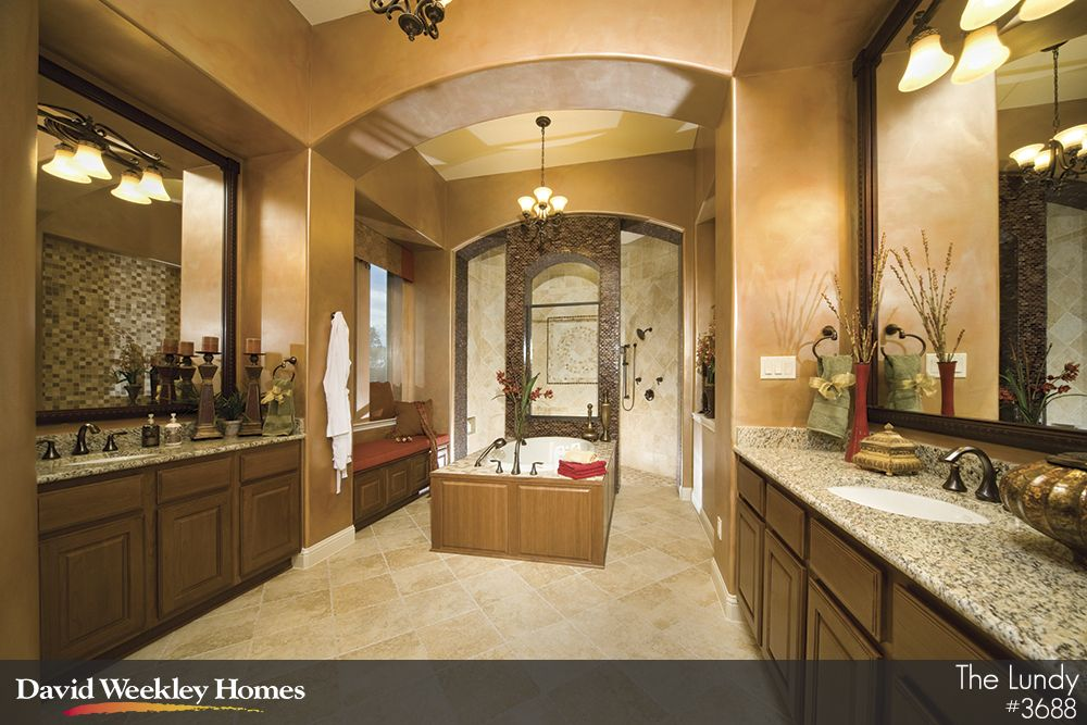 Now this is a bathroom david weekley homes the lundy for Model home bathroom photos