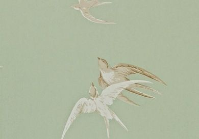 Sanderson Vintage Prints Wallpaper - Swallows - Pebble