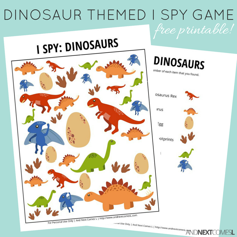 c0b442a868 Free printable dinosaur themed I Spy game for kids from And Next Comes L