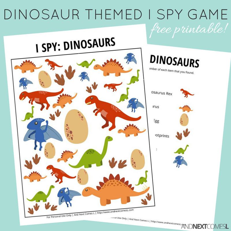 dinosaur themed i spy game free printable for kids