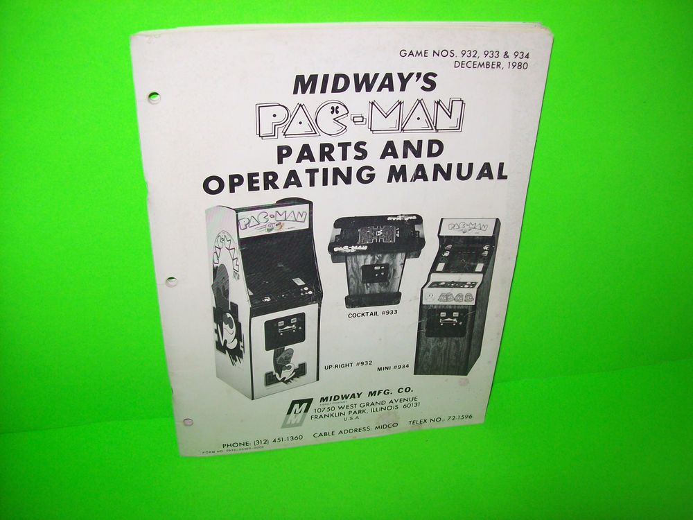 PACMAN By MIDWAY 1980 ORIGINAL VIDEO ARCADE GAME SERVICE