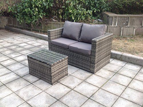 Uk Leisure World New Twin Rattan Wicker Table Sofa Conservatory Outdoor Garden Furniture Set Grey Yard Ideas And Gardens