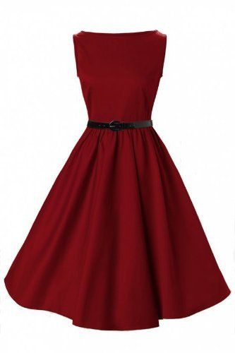 Lindy Bop Classy Vintage Audrey Hepburn Style 1950's Rockabilly Swing  Evening Dress (3XL, Red