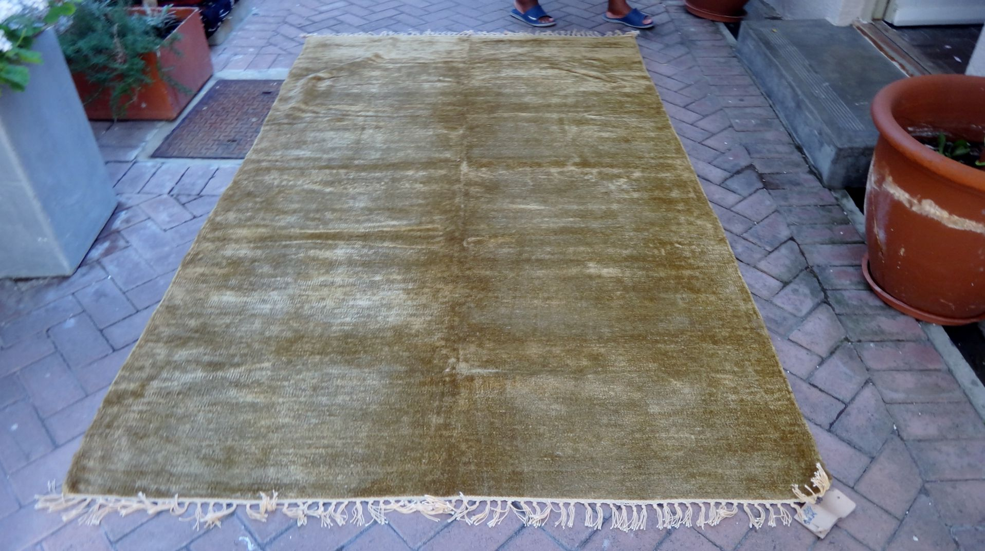 knotted Double Fine Silk and Wool  rug/throw in beautiful deep gold tone  2.74mx1.83m R8700.00 550 pounds www.bokharadecor.com