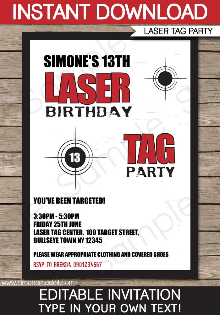 Laser Tag Party Invitations Laser tag party Party invitations