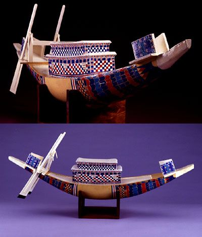 Model ships found in the the boy King Tut's tomb.