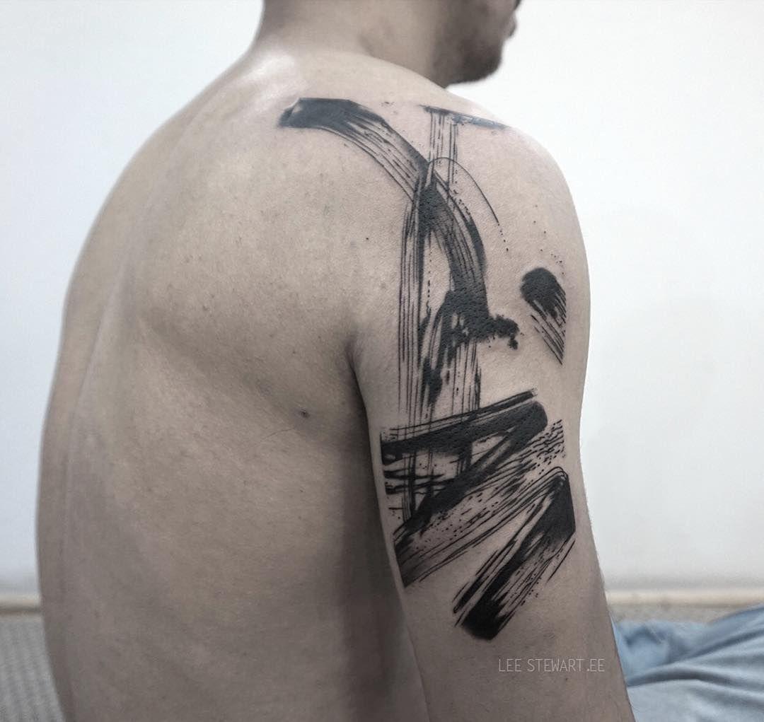 Tattoo Artist Lee Stewart Blackwork Abstract Tattoo In Auhors Brushstroke Style London Abstract Tattoo Simplistic Tattoos Tattoos