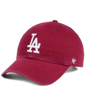47 Brand Los Angeles Dodgers Cardinal And White Clean Up Cap Red Adjustable Dodger Hats La Dodgers Hat Low Crown Hats