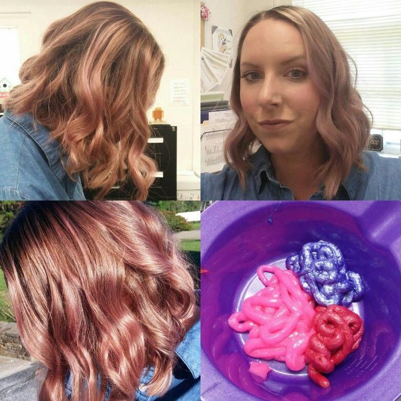 Created This Rose Gold Shade Using Equal Parts Of Ion Color Brilliance Brights In Salmon Lavender Rose A Hair Color Rose Gold Gold Hair Colors Rose Gold Hair