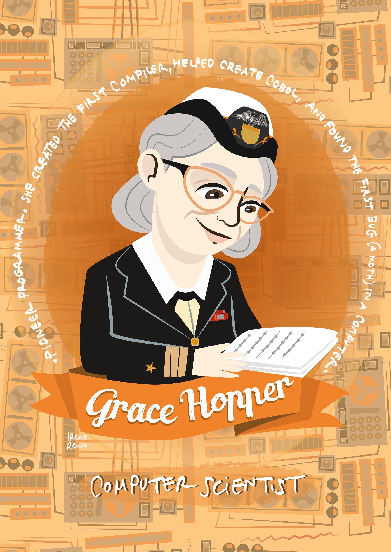 Grace Hopper, women in science poster, illustrated poster, women of science, gift for programmer, women of STEM portrait, Grace Hopper print