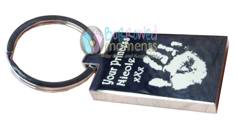 Engraved hand print on key ring