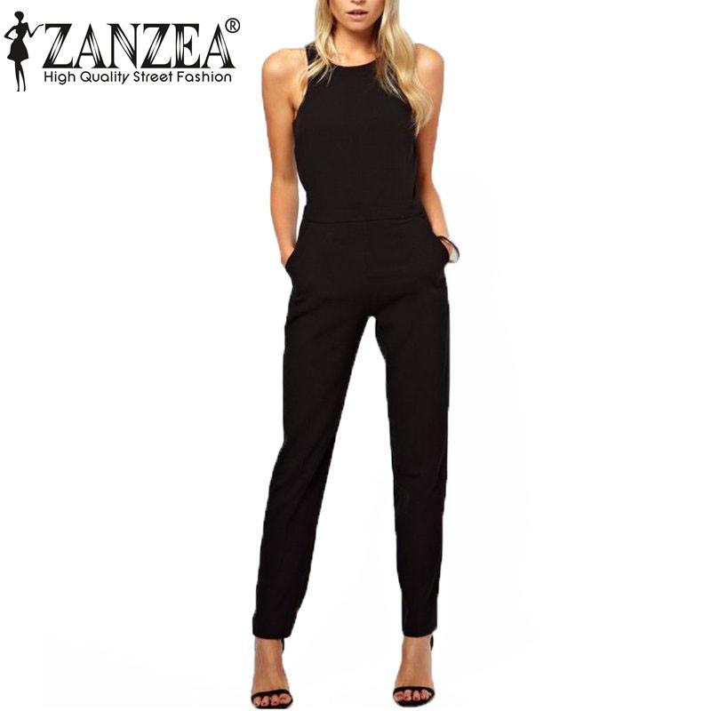 ee8c4e5a1ef ZANZEA 2017 Summer Thin Rompers Women Jumpsuit Casual Elegant Black Zipper  Hollow Sleeveless Long Playsuits Plus Size Overalls - serenityboutique